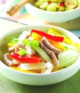 大白菜梗炒肉絲