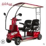 四輪車 老年人電動四輪車前後雙人座帶棚蓬殘疾人電動車代步