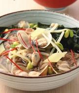 蛤蜊黃豆芽冷湯麵